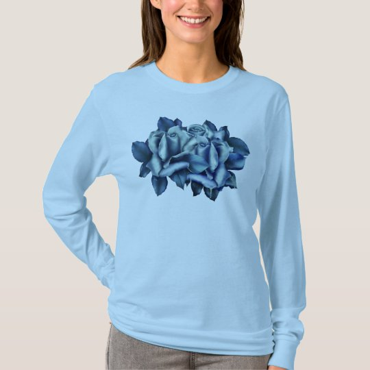 Winter Blue Roses Long Sleeve Tee