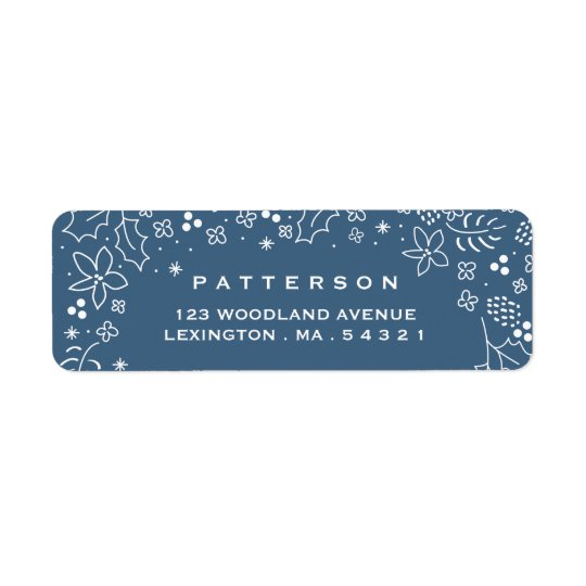 Winter Blue Season's Greetings Christmas Label