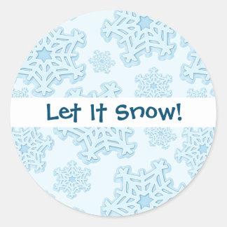 Winter Blue Snowflake Christmas Yule Snow Xmas Ice Classic Round Sticker