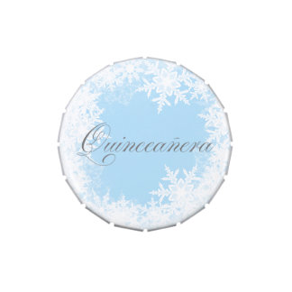 Winter Blue Snowflake Quinceanera Party Candy