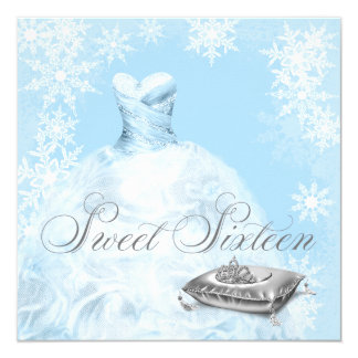 "Winter Blue Snowflake Sweet Sixteen Party 5.25"" Square Invitation Card"