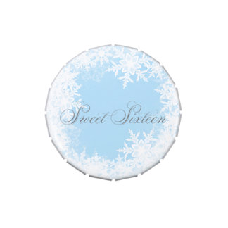 Winter Blue Snowflake Sweet Sixteen Party Candy Candy Tin