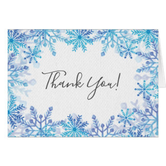 Winter Blue Snowflakes Bridal Shower Thank You Card