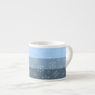 Winter Blue Stripes With Snowflake Pattern Espresso Cup