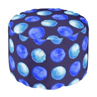 Winter Blue Watercolor Dots Pattern Pouf