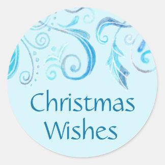 Winter Blue Watercolor Flourish Christmas Sticker