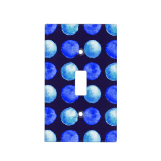 Winter Blue Watercolor Large Dots Pattern Light Switch Cover
