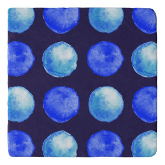 Winter Blue Watercolor Large Dots Pattern Trivet