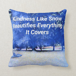 Winter Blue White Inspirational Kindness Quote Throw Pillow