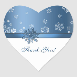 Winter Blue & White Snowflake Thank you Stickers