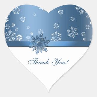 Winter Blue & White Snowflake Thank you Stickers