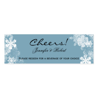 Winter Blue White Snowflakes Wedding Drink Tickets Mini Business Card