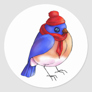Winter Bluebird Classic Round Sticker