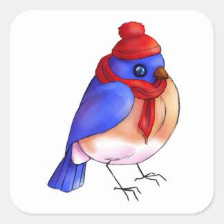 Winter Bluebird Square Sticker
