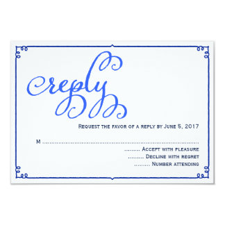 Winter Blues Calligraphy Wedding Reply Card