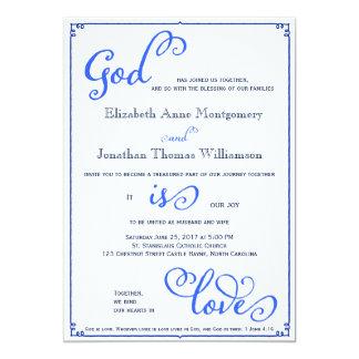 Winter Blues God is Love Wedding Invitation