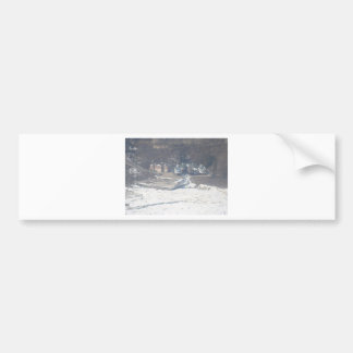 Winter boat dock scene bumper sticker