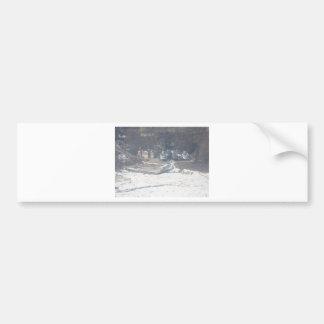 Winter boat dock scene bumper sticker