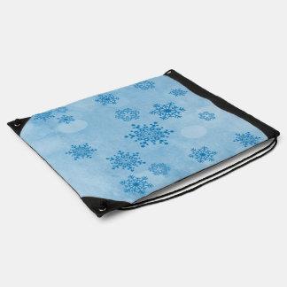 Winter bokeh, blue drawstring bag