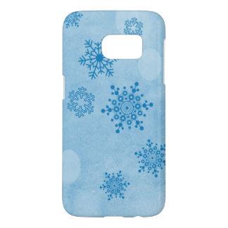 Winter bokeh, blue samsung galaxy s7 case