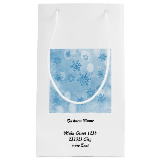winter bokeh blue small gift bag