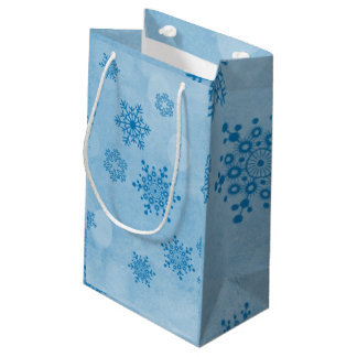 Winter bokeh, blue small gift bag