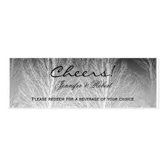 Winter Branches Black White Wedding Drink Tickets Mini Business Card