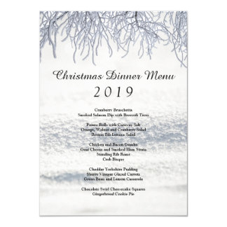 Winter Branches Snow Christmas Dinner Menu Card