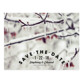 Winter Branches Stylish Save the Date Postcard