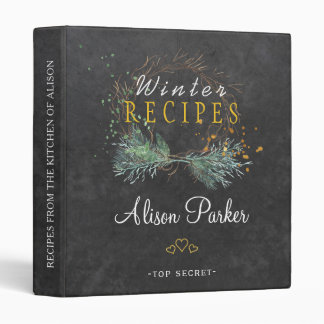 Winter branches wreath chalkboard rustic recipes 3 ring binders