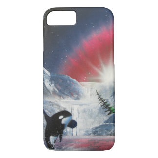 Winter breaching whale I-phone case