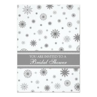 Winter Bridal Shower Grey White Snowflakes Card