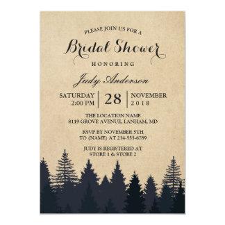 Winter Bridal Shower | Rustic Kraft Pine Trees Card