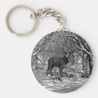 Winter Buck B/W Basic Round Button Keychain