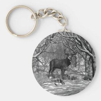 Winter Buck B/W Keychain