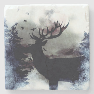 Winter Buck Marble Coaster