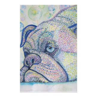 winter bulldog stationary personalized stationery