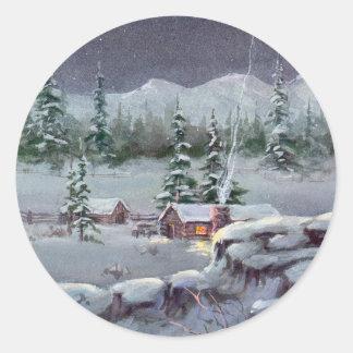 WINTER CABIN by SHARON SHARPE Classic Round Sticker