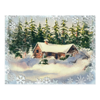 WINTER CABIN in SNOW by SHARON SHARPE Postcard