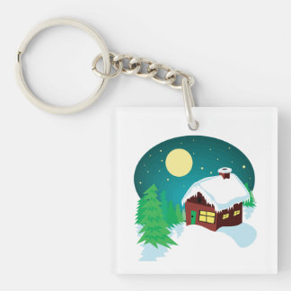 Winter Cabin Single-Sided Square Acrylic Keychain