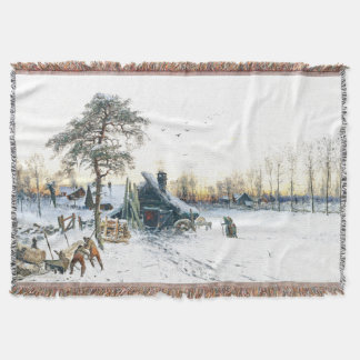 Winter Cabin Snow Family Painting Throw Blanket