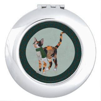 WINTER CALICO CAT Compact Mirror