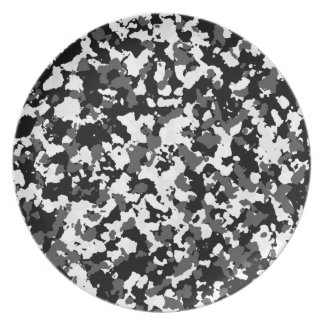 Winter camo pattern party plate