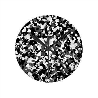 Winter camo pattern round clock