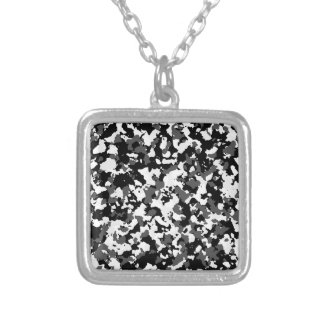 Winter camo pattern silver plated necklace