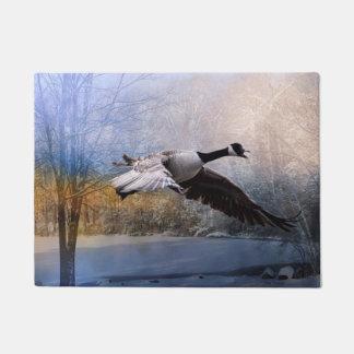 Winter Canadian Goose Door Mat