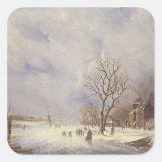 Winter Canal Scene, 19th century Square Sticker