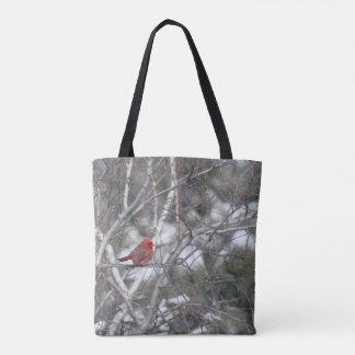 Winter Cardinal Tote Bag