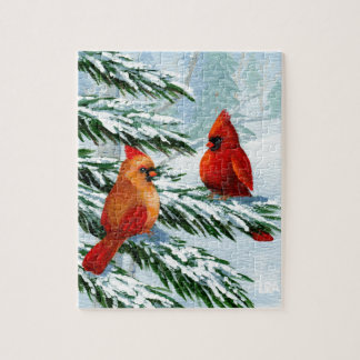 Winter Cardinals Birds Snow Creationarts Jigsaw Puzzle