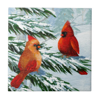 Winter Cardinals Birds Snow Creationarts Tile